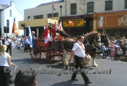 A horse pulling a cart decorated with flags in the Orange march