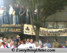 Banners erected to the UDA/UVF along the return parade route