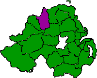 Map showing Northern Ireland council areas with Limavady area highlighted