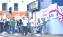 Group of 'fans' outside an off-licence near Windsor Park