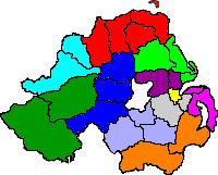 Map of Northern Ireland with propsed 11 council areas highlighted